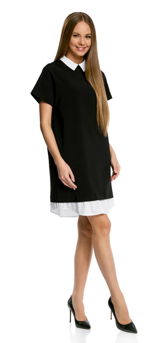 Платье11911012/46349/2900NОригинальное платье oodji Ultra А-силуэта выполнено из комбинированного материала и дополнено контрастной вставкой по низу. Модель мини-длины с отложным воротничком и короткими рукавами застегивается на скрытую молнию на спинке. Контрастные воротничок и вставка по низу изделия создают эффект многослойности.