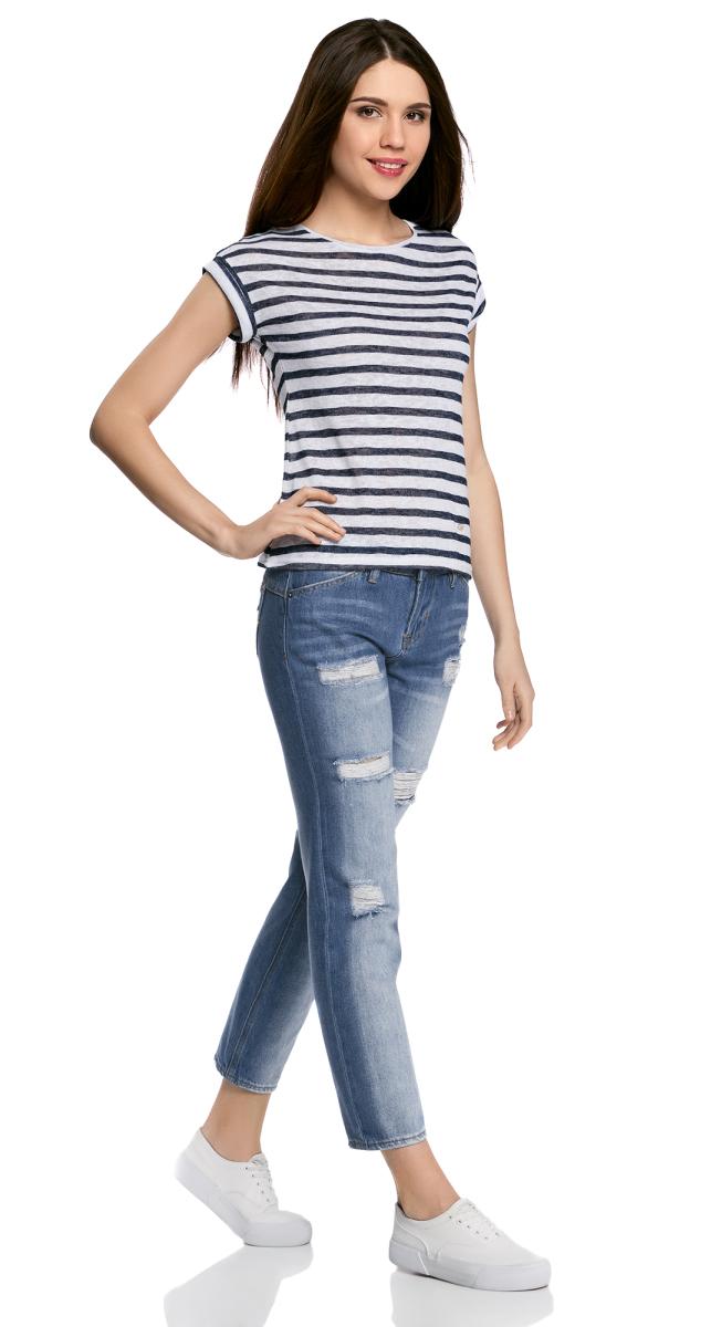 Джинсы12106142-1/46654/7500WЖенские джинсы oodji Ultra выполнены из высококачественного материала. Модель-бойфренды средней посадки по поясу застегиваются на пуговицу и имеют ширинку на застежке-молнии, а также шлевки для ремня. Джинсы имеют классический пятикарманный крой: спереди - два втачных кармана и один маленький накладной, а сзади - два накладных кармана. Модель оформлена потертостями.