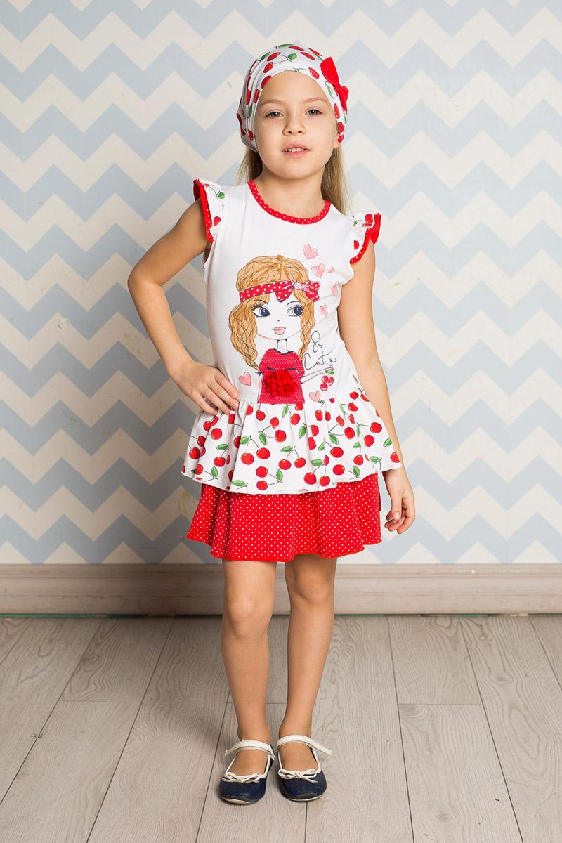 Платье714155Яркое платье для девочки Sweet Berry выполнено из высококачественного эластичного хлопка. Модель приталенного кроя с двухслойной юбкой-воланом и двухслойными рукавами-крылышками оформлена аппликацией и принтами в горошек и вишенку. Круглый вырез горловины дополнен мягкой эластичной бейкой.
