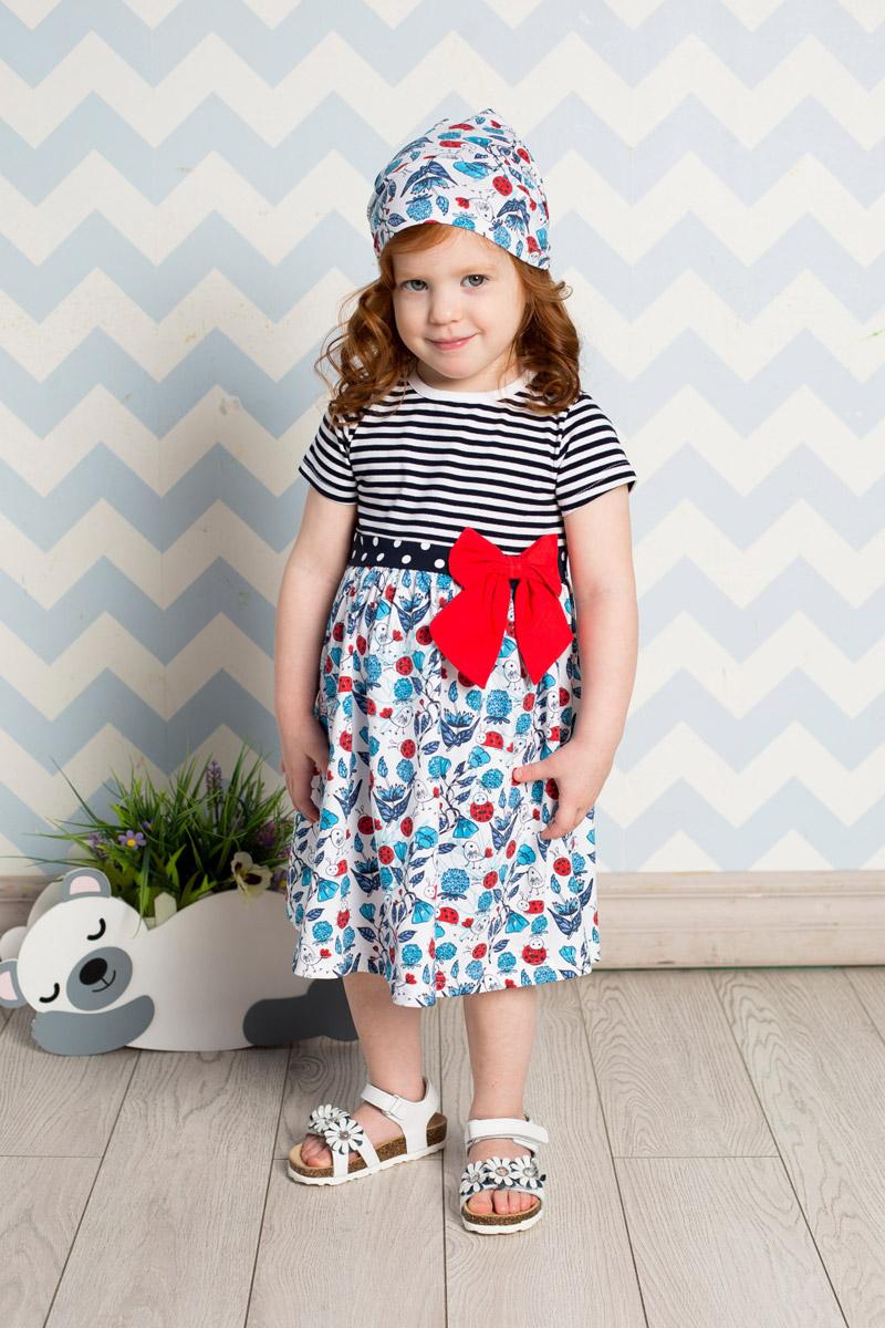 Платье712028Яркое платье для девочки Sweet Berry выполнено из качественного эластичного хлопка разных цветов. Модель средней длины с пышной юбкой-солнцем застегивается сзади на пуговицы. Линию талии подчеркивает вшитый пояс, декорированный объемным контрастным бантиком.