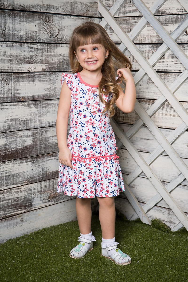 Платье714024Легкое платье для девочки Sweet Berry выполнено из высококачественного эластичного хлопка и оформлено ярким принтом. Модель средней длины с рукавами-крылышками декорирована маленькими помпончиками. Круглый вырез горловины дополнен мягкой эластичной бейкой контрастного цвета.