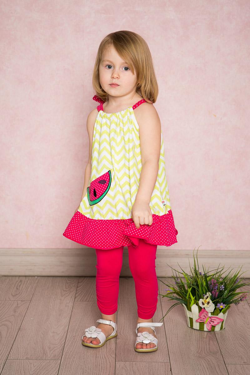 Сарафан712091Оригинальный сарафан для девочки Sweet Berry выполнен из качественного эластичного хлопка и оформлен принтом в зигзагообразную полоску и мелкий горошек и аппликацией в виде дольки арбуза. Модель прямого кроя по низу дополнена воланом контрастного цвета. Верх изделия присборен на контрастную тесьму, выполняющую роль лямок.