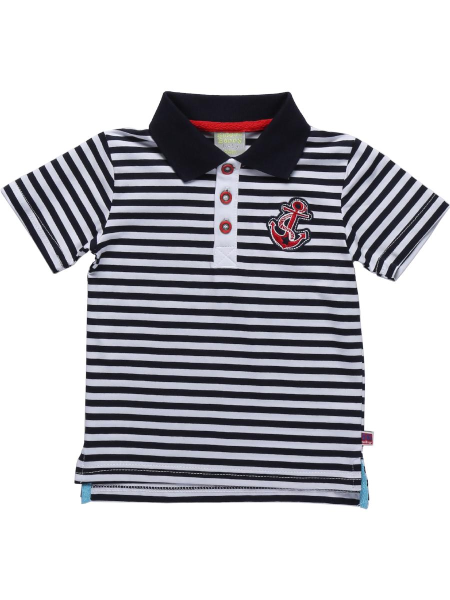 Поло711069Стильная футболка-поло для мальчика Sweet Berry, выполненная из качественного эластичного хлопка в полоску, станет отличным дополнением к детскому гардеробу. Модель свободного кроя с боковыми разрезами застегивается на пуговицы на контрастной планке и оформлена забавной вышивкой на груди. Классический отложной воротничок дополнен внутренней полоской контрастной тесьмы.