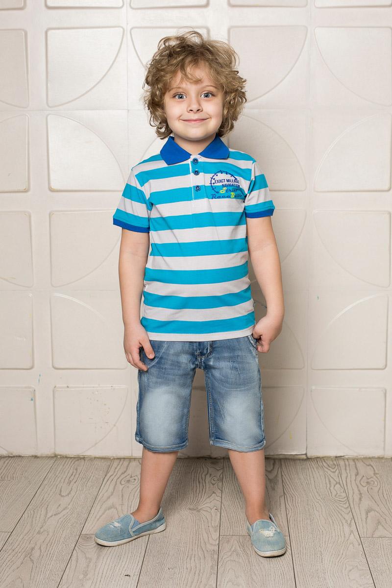Поло713090Стильная футболка-поло для мальчика Sweet Berry, выполненная из качественного эластичного хлопка в крупную полоску, станет отличным дополнением к детскому гардеробу. Модель свободного кроя застегивается на пуговицы и оформлена оригинальным принтом. Классический отложной воротничок и манжеты рукавов выполнены из материала контрастного цвета.