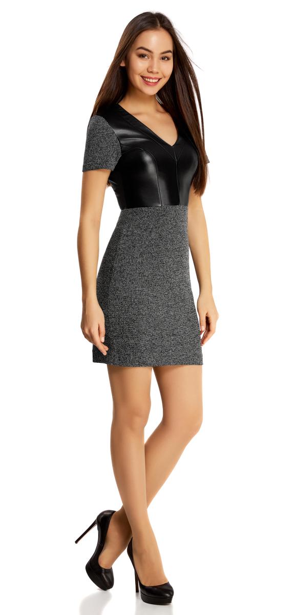 Платье14011008-1/37844/2912MПлатье трикотажное с верхом из искусственной кожи