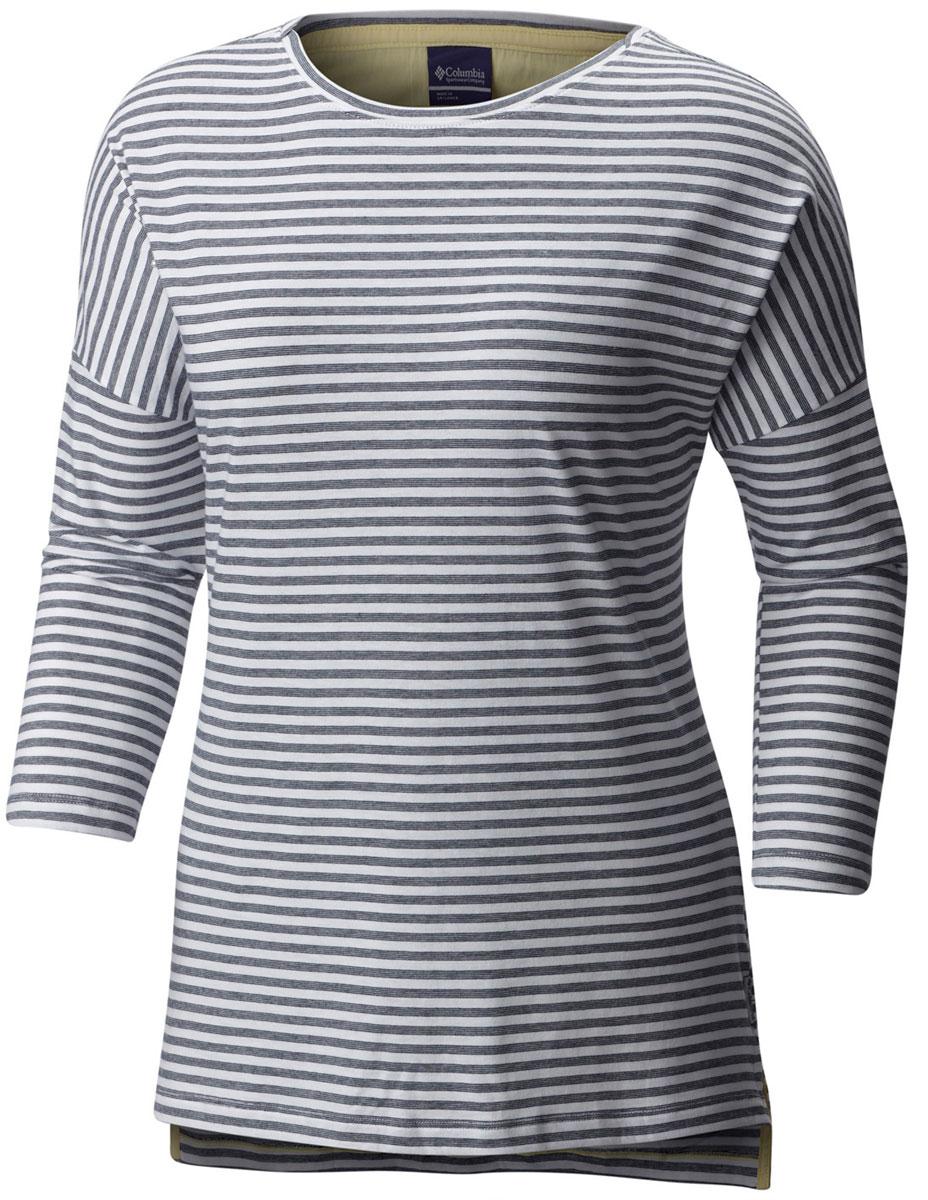 Футболка с длинным рукавом1709561-464Стильная женская футболка Columbia изготовлена из высококачественных материалов с оригинальной текстурой. Футболка с круглым вырезом горловины и рукавами ? оформлена принтом в полоску.