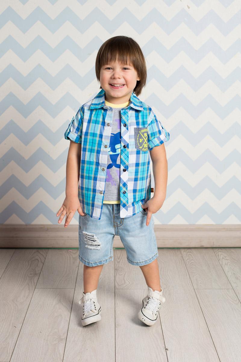 Рубашка711038Стильная рубашка для мальчика Sweet Berry, изготовленная из натурального хлопка с принтом в клетку, станет отличным дополнением к гардеробу вашего ребенка. Модель прямого кроя с короткими рукавами и отложным воротничком застегивается на кнопки. Изделие дополнено накладным карманом контрастного цвета. Рукава подворачиваются и фиксируются хлястиками на кнопках.
