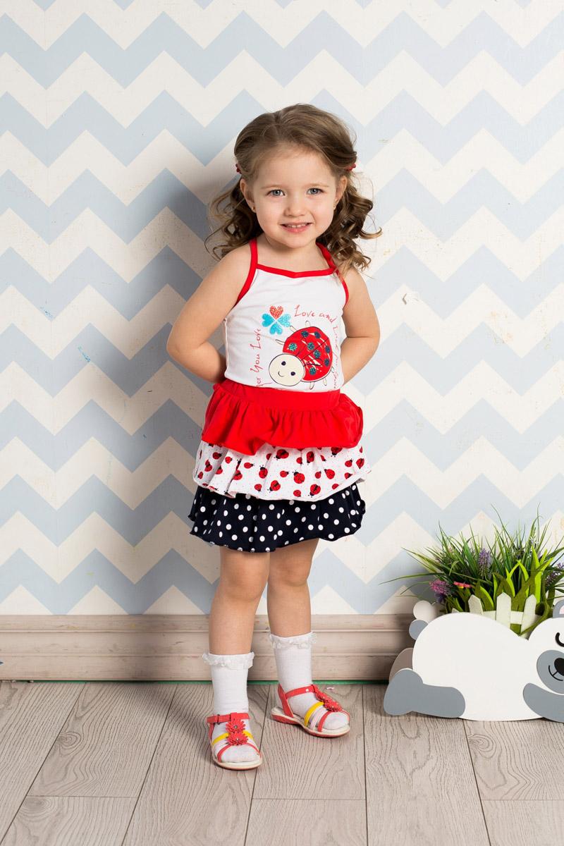 Топ712140Яркий топ для девочки Sweet Berry, выполненный из качественного эластичного хлопка с забавным принтом, станет отличным дополнением к детскому гардеробу. Бретели, регулирующиеся по длине, выполнены из материала контрастного цвета.