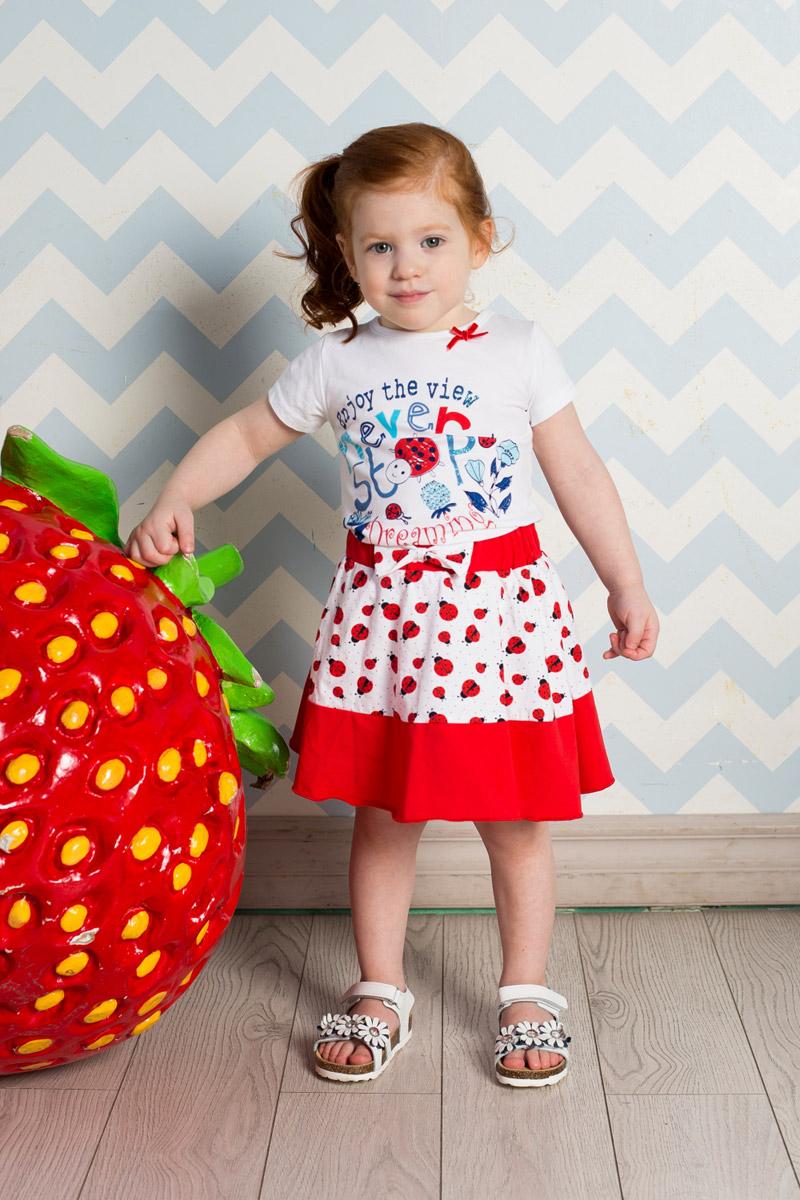 Футболка712057Яркая футболка для девочки Sweet Berry выполнена из качественного эластичного хлопка. Модель с круглым вырезом горловины и короткими рукавами оформлена оригинальным принтом. Воротник дополнен мягкой эластичной бейкой и оформлен небольшим бантиком.