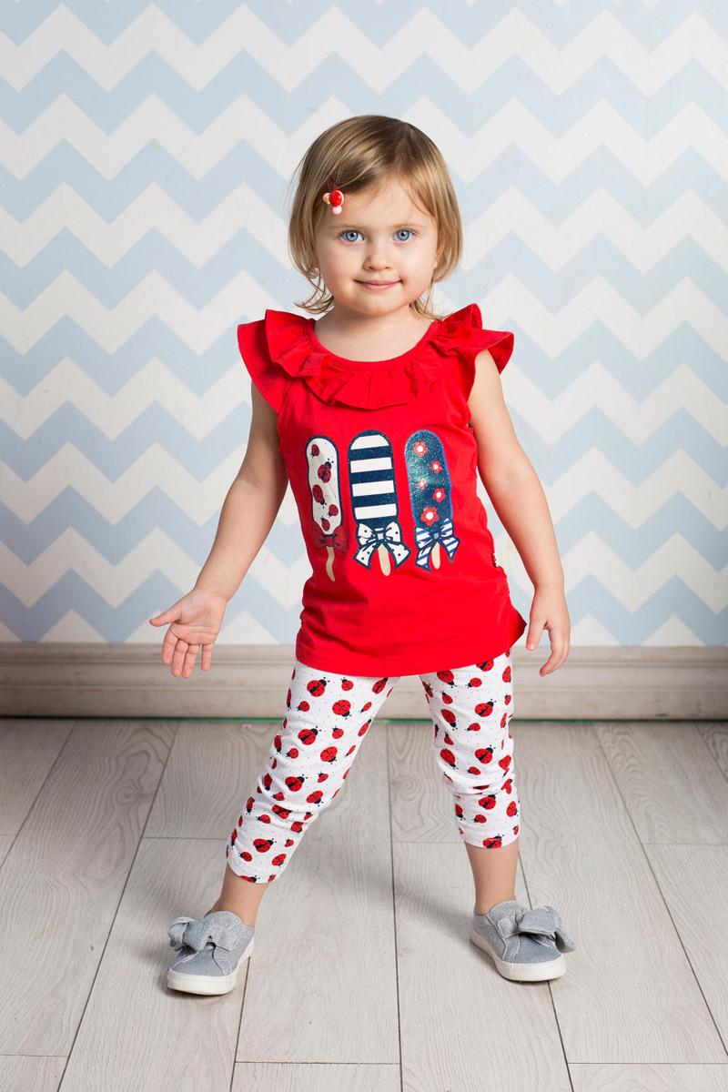 Футболка712054Яркая футболка для девочки Sweet Berry выполнена из качественного эластичного хлопка и оформлена оригинальной аппликацией. Модель приталенного кроя с круглым вырезом горловины и рукавами-крылышками присборена по бокам на резинку. Воротник дополнен мягкой эластичной бейкой и воланами. Футболка застегивается сзади на пуговку.