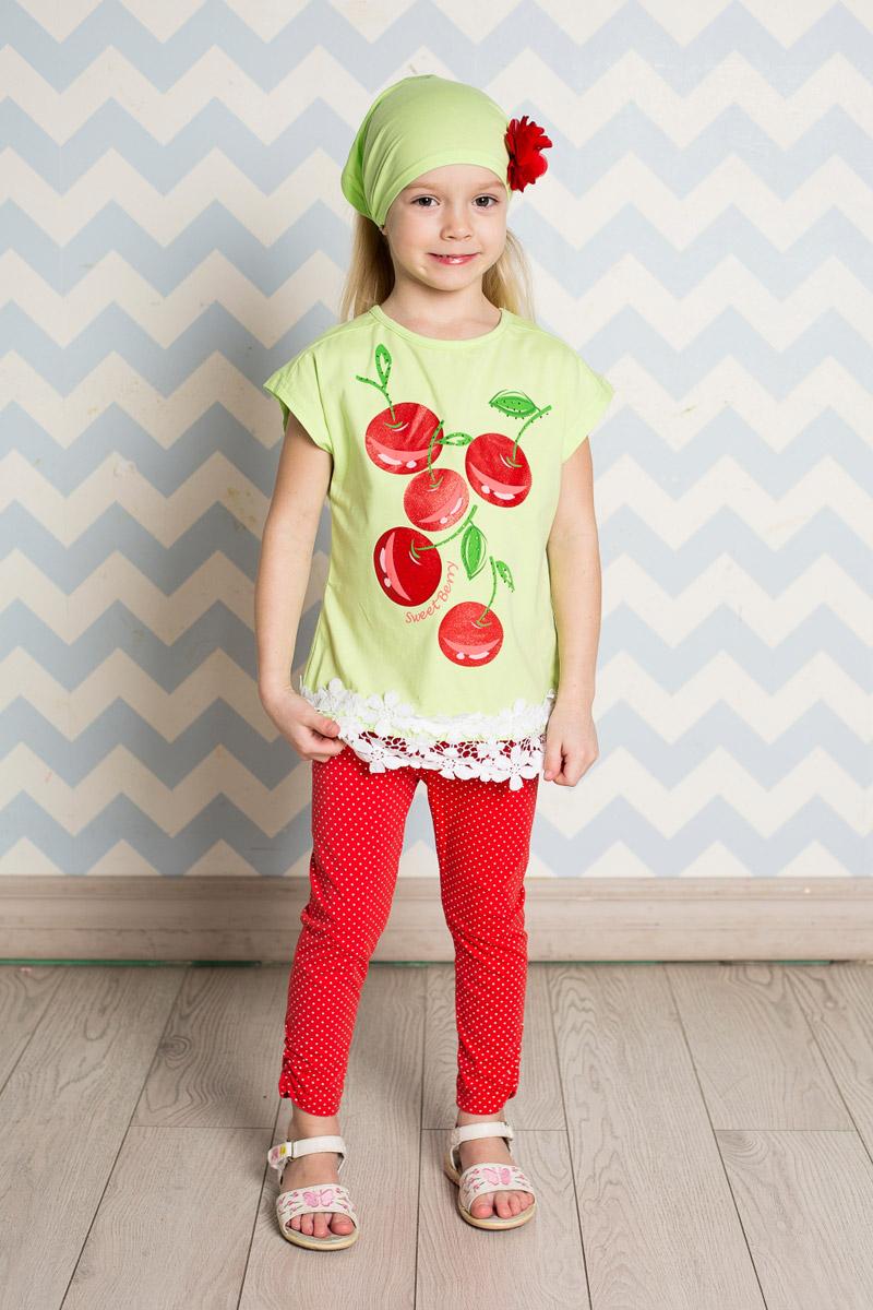 Футболка714149Яркая футболка для девочки Sweet Berry, выполненная из качественного эластичного хлопка, станет отличным дополнением к детскому гардеробу. Модель прямого кроя с круглым вырезом горловины оформлена оригинальным принтом и кружевом по низу. Воротник дополнен мягкой эластичной бейкой.