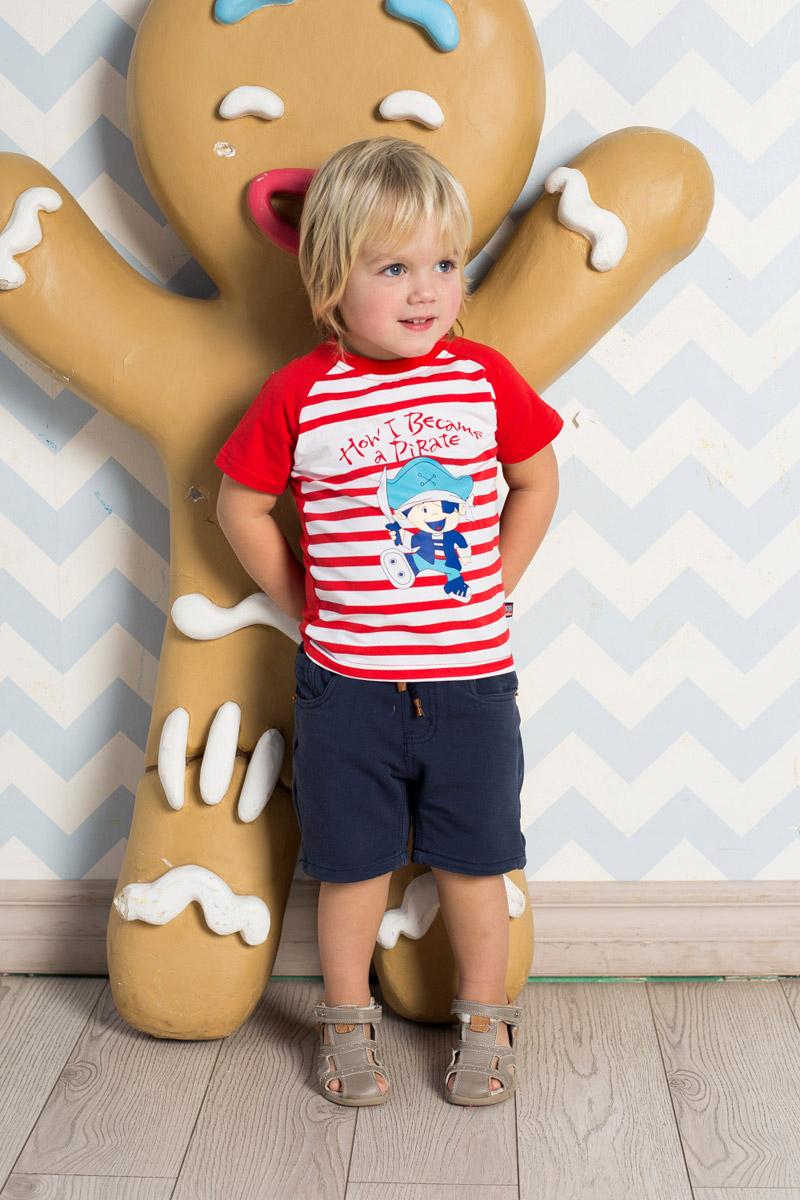 Футболка711074Яркая футболка для мальчика Sweet Berry, выполненная из качественного эластичного хлопка в полоску, станет отличным дополнением к детскому гардеробу. Модель с круглым вырезом горловины и рукавами-реглан оформлена аппликацией. Воротник дополнен мягкой трикотажной резинкой.