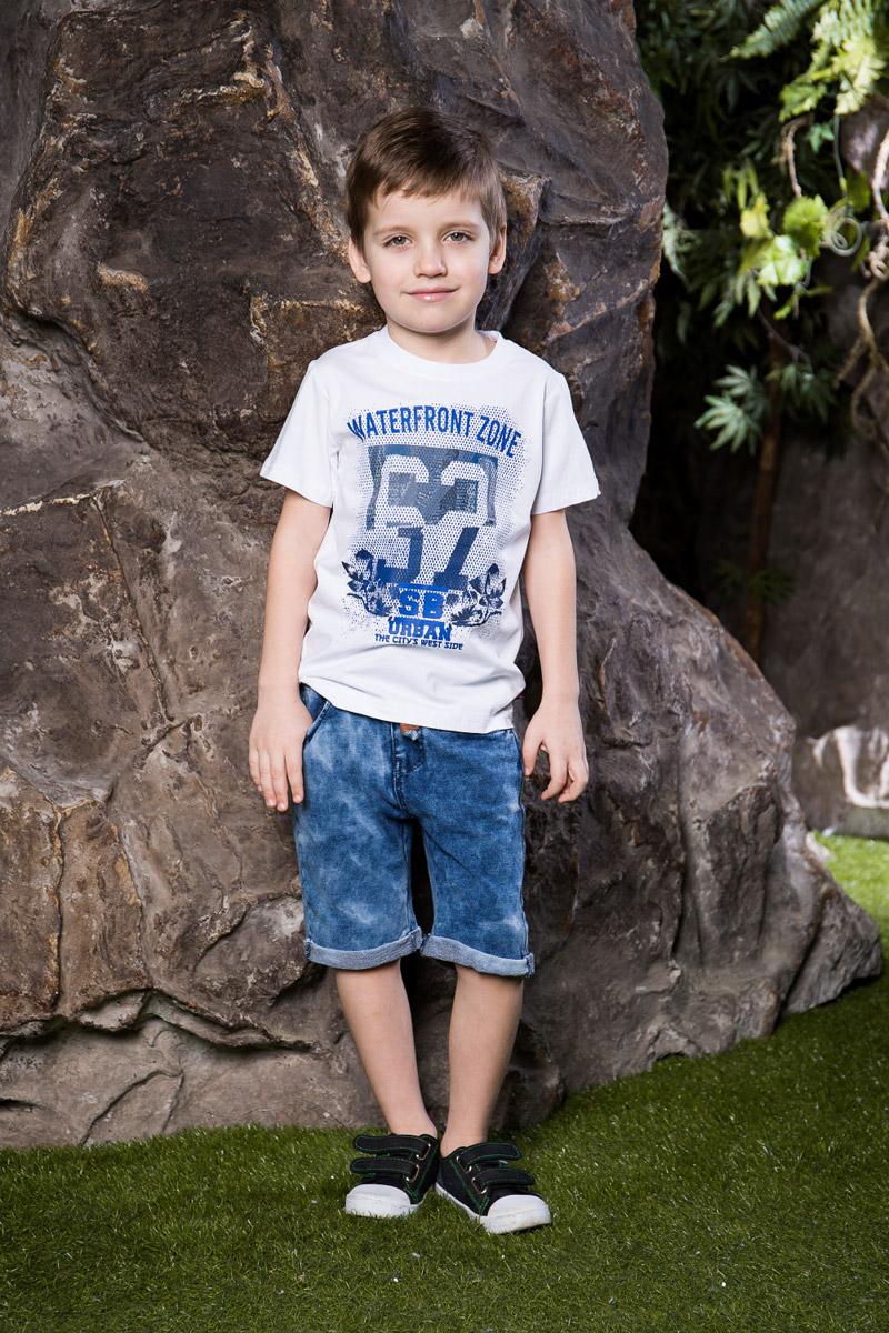 Футболка713010Яркая футболка для мальчика Sweet Berry, выполненная из качественного эластичного хлопка, станет отличным дополнением к детскому гардеробу. Модель с круглым вырезом горловины оформлена оригинальным принтом. Воротник дополнен мягкой трикотажной резинкой.
