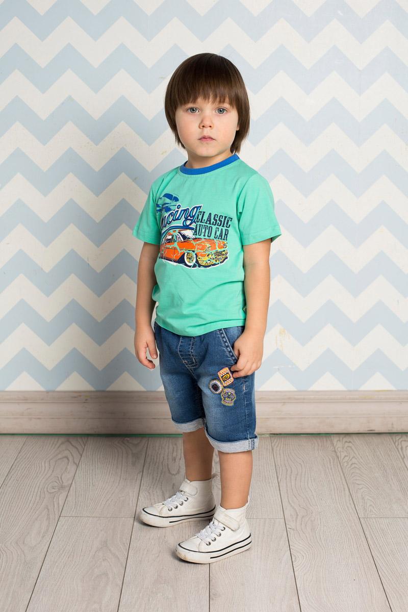 Футболка711005Яркая футболка для мальчика Sweet Berry, выполненная из качественного эластичного хлопка, станет отличным дополнением к детскому гардеробу. Модель с круглым вырезом горловины оформлена оригинальным принтом. Воротник дополнен мягкой трикотажной резинкой контрастного цвета.