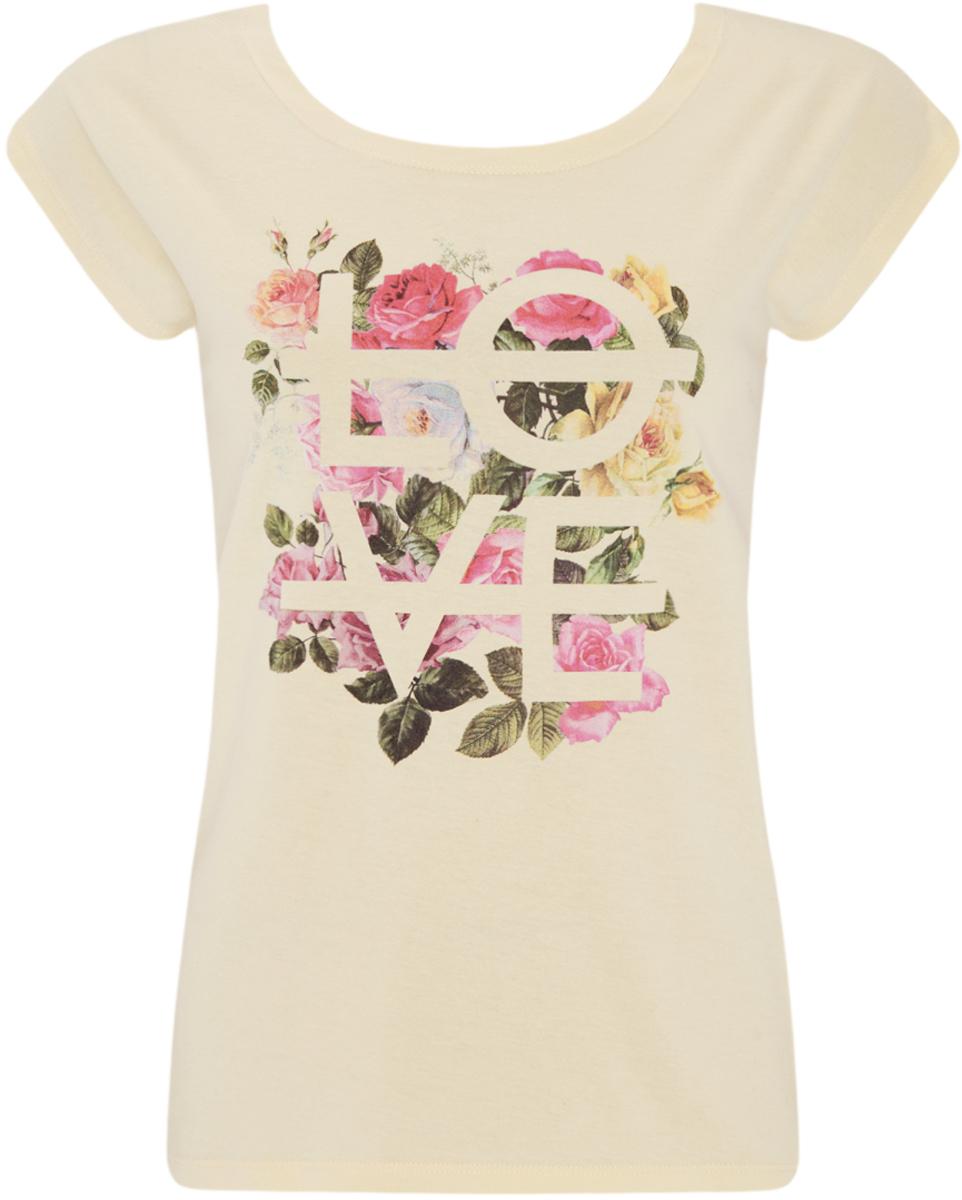Футболка14702001-2/46158/414DPУдобная женская футболка oodji Ultra выполнена из натурального хлопка. Модель с круглым вырезом горловины и короткими цельнокроеными рукавами оформлена цветочным принтом и надписью.