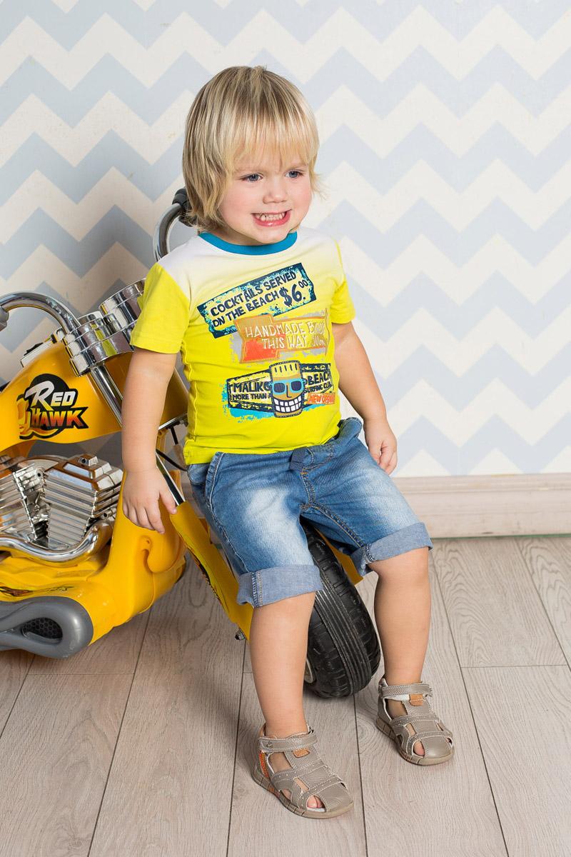Футболка711018Яркая футболка для мальчика Sweet Berry, выполненная из качественного эластичного хлопка градиентного цвета, станет отличным дополнением к детскому гардеробу. Модель с круглым вырезом горловины оформлена оригинальным принтом. Воротник дополнен мягкой трикотажной резинкой контрастного цвета.