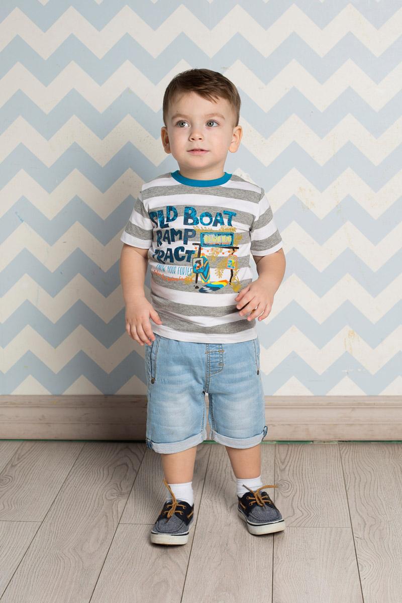 Футболка711024Яркая футболка для мальчика Sweet Berry, выполненная из качественного эластичного хлопка в крупную полоску, станет отличным дополнением к детскому гардеробу. Модель с круглым вырезом горловины оформлена оригинальным принтом. Воротник дополнен мягкой трикотажной резинкой контрастного цвета.