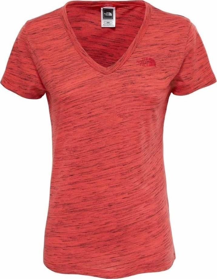 ФутболкаT0A3H6RKVЖенская футболка The North Face Womens - отличный вариант для каждодневного использования. У модели укороченные рукава и женственный V-образный вырез, принт на груди с логотипом The North Face.