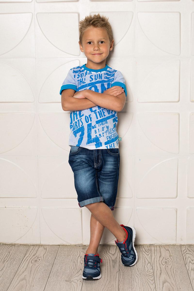 Шорты713032Стильные джинсовые шорты для мальчика Sweet Berry выполнены из натурального хлопка с эффектом потертостей. Шорты с отворотами застегиваются на пуговицу и имеют ширинку на застежке-молнии. На поясе имеются шлевки для ремня. С внутренней стороны пояс дополнен вшитыми эластичными лентами, регулирующими посадку по талии. Модель имеет два втачных и один прорезной кармашек спереди и два накладных кармана сзади.