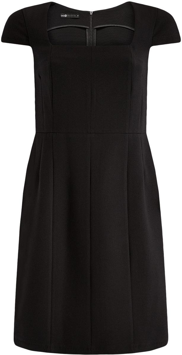 Платье21902065/31291/2900NПлатье-футляр из плотной ткани с квадратным вырезом
