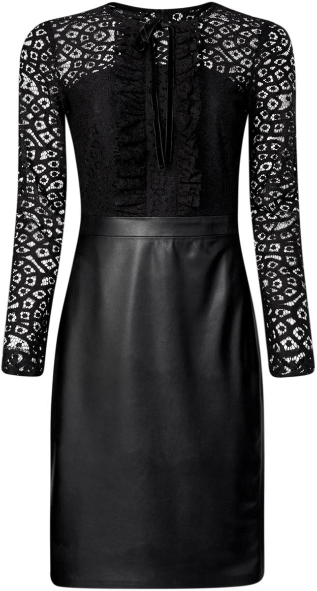 Платье21913014/45945/2900NПлатье комбинированное с кружевным верхом и юбкой из искусственной кожи