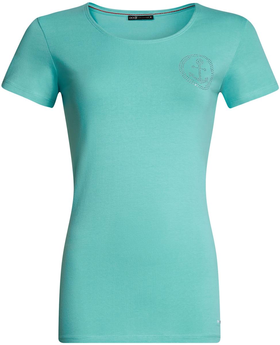 Футболка24711002/46840/1000NЖенская футболка с короткими рукавами у круглым вырезом горловины выполнена из эластичного хлопка. На груди модель декорирована аппликацией из страз.