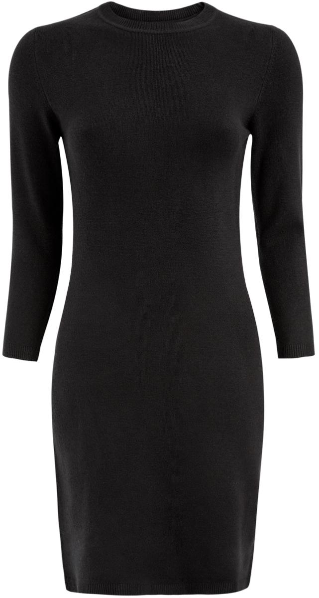 Платье63912222B/46244/2900NОблегающее платье oodji Ultra выполнено из мягкого трикотажа мелкой вязки. Модель мини-длины с круглым вырезом горловины и рукавами 3/4 выгодно подчеркнет достоинства фигуры.