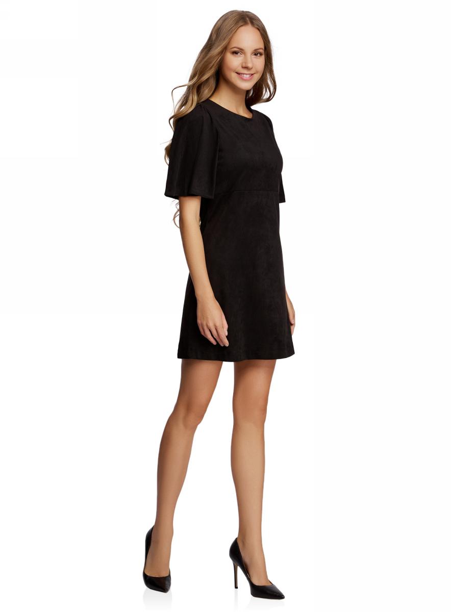 Платье18L11001/45622/3100NПлатье свободного силуэта oodji Ultra, выполненное из искусственной замши, поможет создать модный образ. Модель мини-длины с короткими рукавами и круглым вырезом горловины застегивается на металлическую застежку-молнию на спинке.