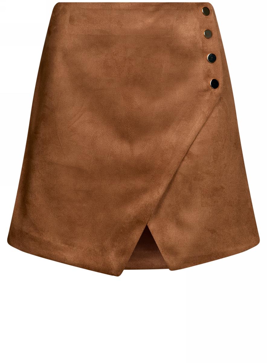 Юбка18H00007/45778/3700NМини-юбка с запахом выполнена из искусственной кожи. Сзади модель застегивается на потйную застежку-молнию.