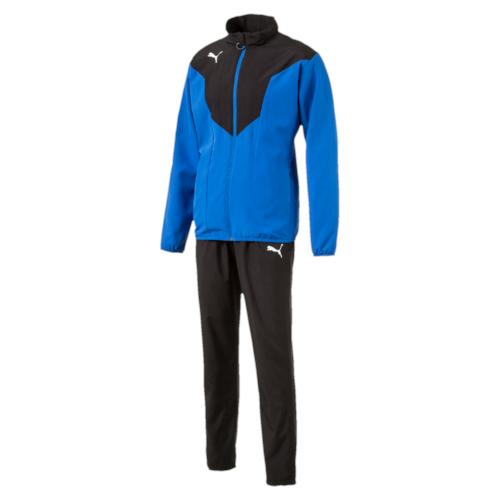 Спортивный костюм65520023Куртка декорирована логотипом PUMA нанесенным методом термопечати на правую сторону груди. Также спереди имеются контрастные вставки. Изделие полностью посажено на подкладку, имеет боковые карманы и отделку эластичным материалом манжет и подола. Брюки декорированы логотипом PUMA, нанесенным методом термопечати на левую штанину. Они полностью посажены на подкладку и снабжены поясом из эластичного материала. По низу штанин вшиты застежки-молнии. Сбоку на брюках имеются карманы. Курта и брюки имеют стандартную посадку.