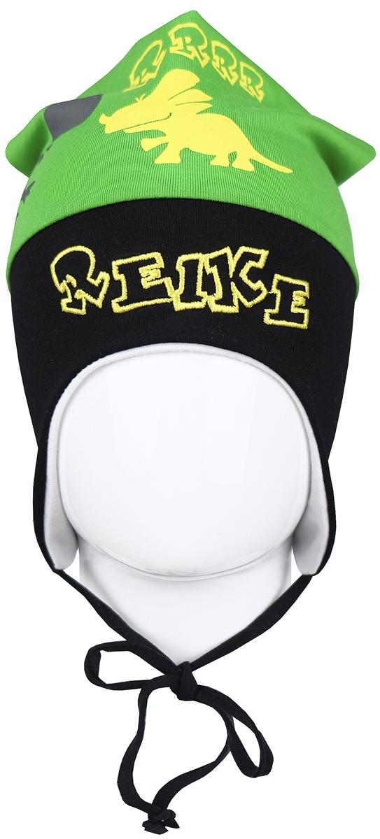 Шапка детскаяRKNSS17-DIN3_greenЯркая двухслойная шапка для мальчика Reike Динозаврики, изготовленная из натурального хлопка, защитит голову ребенка от ветра в прохладную погоду. Модель удлинена, оформлена принтом, вышитым логотипом Reike и усиками на макушке. Изделие с удлиненными боковыми частями фиксируется на голове при помощи завязок. Уважаемые клиенты! Размер, доступный для заказа, является обхватом головы.