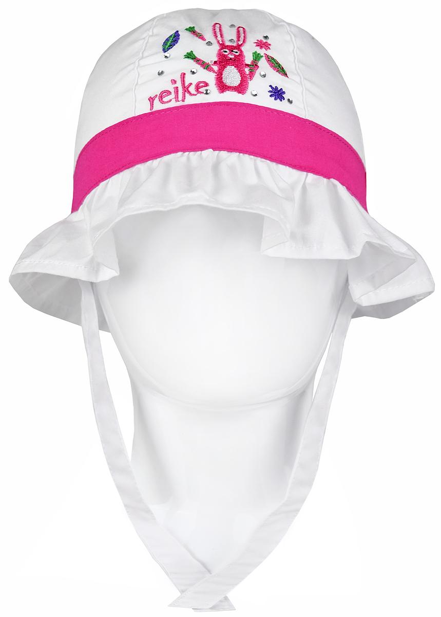 Бейсболка детскаяRWSS17-HR1_pinkПанама для девочки Reike Зайчики, изготовленная из натурального хлопка, станет стильным аксессуаром во время прогулок и игр на свежем воздухе, защищая голову малышки от солнца и ветра. Широкие поля выполнены в виде рюши. Модель оформлена бантиком сзади, стразами и вышивкой в стиле серии и фиксируется на голове при помощи завязок. Уважаемые клиенты! Размер, доступный для заказа, является обхватом головы.