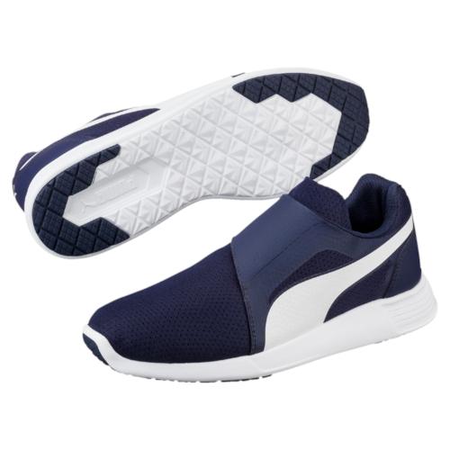 Кроссовки36239704Модель ST Trainer Evo АС от PUMA - это классические линии и лаконичный силуэт настоящей беговой обуви, но при этом отсутствие шнуровки и надежная застежка на липучках, благодаря которой эти кроссовки надеваются и снимаются одним движением и отлично сидят на ноге. Мягкий и приятный на ощупь материал верха дополняется амортизирующей промежуточной подошвой из этиленвинилацетата. Традиции, воплощенные в ST Trainer Evo АС - это всегда актуально!