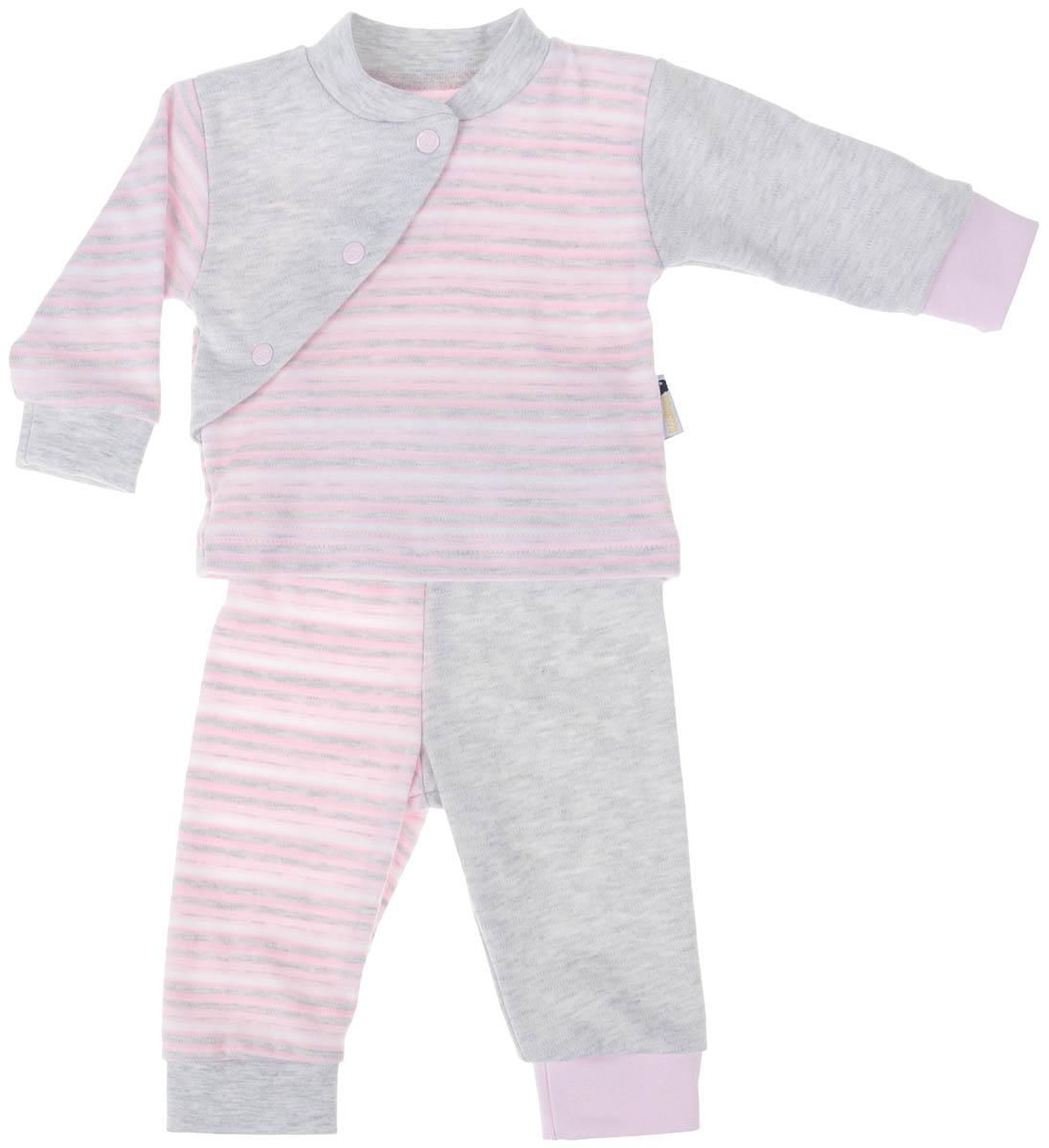Комплект одежды39К-5222Детский комплект Клякса состоит из кофточки и штанишек. Комплект изготовлен из качественного натурального хлопка. Кофта с длинными рукавами и воротником-стойкой застегивается спереди на три кнопки. Штанишки имеют широкую эластичную резинку на поясе и широкие манжеты.