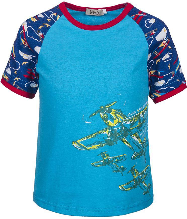 ФутболкаSJF17010M10Стильная футболка M&D для мальчика изготовлена из натурального хлопка, она необычайно мягкая и приятная на ощупь, не сковывает движения ребенка и придает комфорт. Футболка с короткими рукавами-реглан и круглым вырезом горловины оформлена оригинальным принтом. Вырез горловины дополнен трикотажной бейкой.