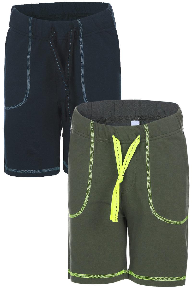 Шорты171112Шорты для мальчика PlayToday изготовлены из мягкого хлопка с добавлением эластана. Модель на широком поясе с резинкой оснащена затягивающимся шнурком. Спереди имеются два втачных кармана. Изделие оформлено декоративными строчками по низу штанин и по периметру карманов.