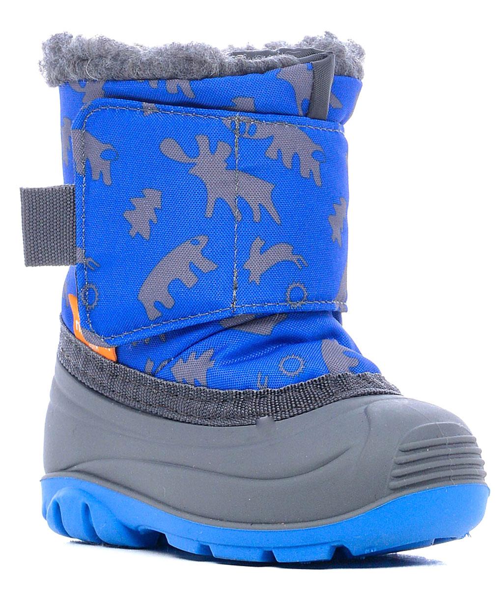 Дутики111006-04Детские сноубутсы Nordman защитят ножки малыша, когда на улице слякоть и снежная каша. Оптимально их носить при температуре от +5°С до -5°С. Нижняя часть полностью водонепроницаемая, верхняя - из ткани с водоотталкивающей пропиткой. Внутри - теплый мех и мягкая войлочная стелька. У сапожек удобная широкая липучка. Подошва с рифлением обеспечивает идеальное сцепление с разными поверхностями.