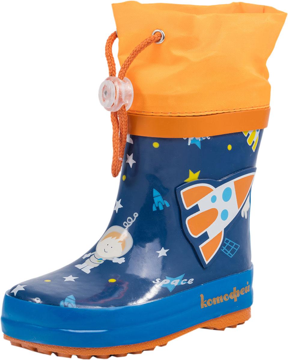 Резиновые сапоги166072-11Резиновые сапоги от Котофей - идеальная обувь в холодную дождливую погоду для вашего ребенка. Сапоги выполнены из качественной резины. Голенище оформлено оригинальным принтом, сбоку - декоративной накладкой. Подкладка и стелька из текстиля обеспечат комфорт. Текстильный верх голенища регулируется в объеме за счет шнурка со стоппером. Подошва дополнена рифлением.
