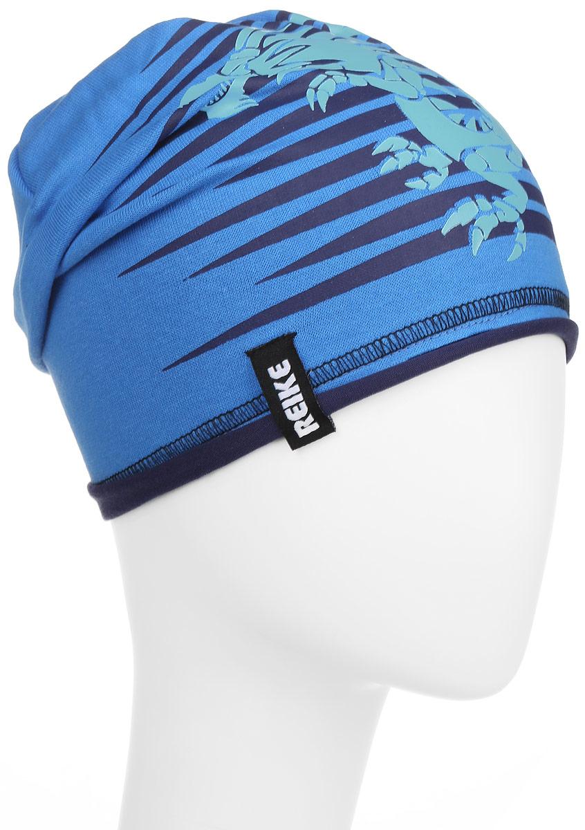 Шапка детскаяRKNSS17-DRG1_blueСтильная шапка для мальчика Reike Драконы, изготовленная из качественного хлопкового материала, отлично впишется в гардероб ребенка. Модель с контрастным подкладом оформлена принтом в стиле серии. Уважаемые клиенты! Размер, доступный для заказа, является обхватом головы.