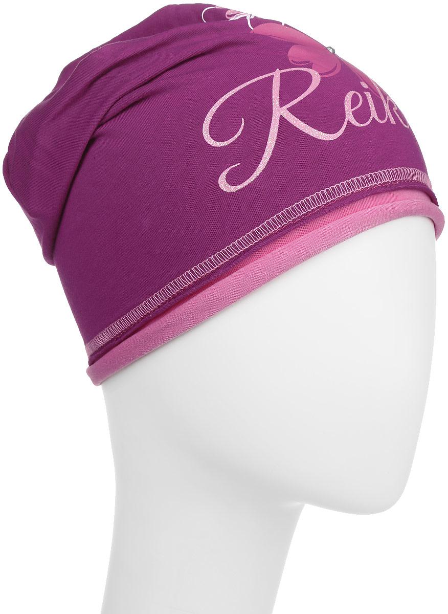 Шапка детскаяRKNSS17-CSM1_ bordeauxСтильная шапка для девочки Reike Космея, изготовленная из качественного хлопкового материала, отлично впишется в гардероб юной модницы. Модель с контрастным подкладом оформлена цветочным принтом со стразами и блестками и глиттерной надписью Reike. Уважаемые клиенты! Размер, доступный для заказа, является обхватом головы.