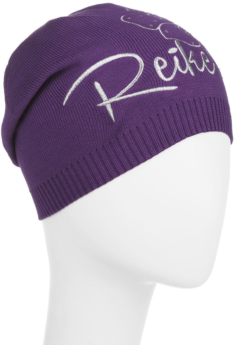 Шапка детскаяRKNSS17-MAL1-YN_violetСтильная шапка для девочки Reike Мальва, изготовленная из натурального хлопка мелкой вязки, отлично впишется в гардероб юной модницы. Модель оформлена резинкой, вышитым серебристым цветком со стразами в стиле серии и логотипом Reike. Уважаемые клиенты! Размер, доступный для заказа, является обхватом головы.