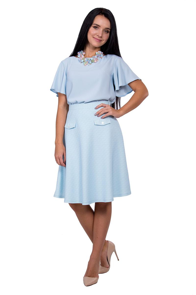 ЮбкаП17-068Элегантная и простая юбка полусолнце длиной до колен подчеркнет талию и создаст идеальный силуэт.