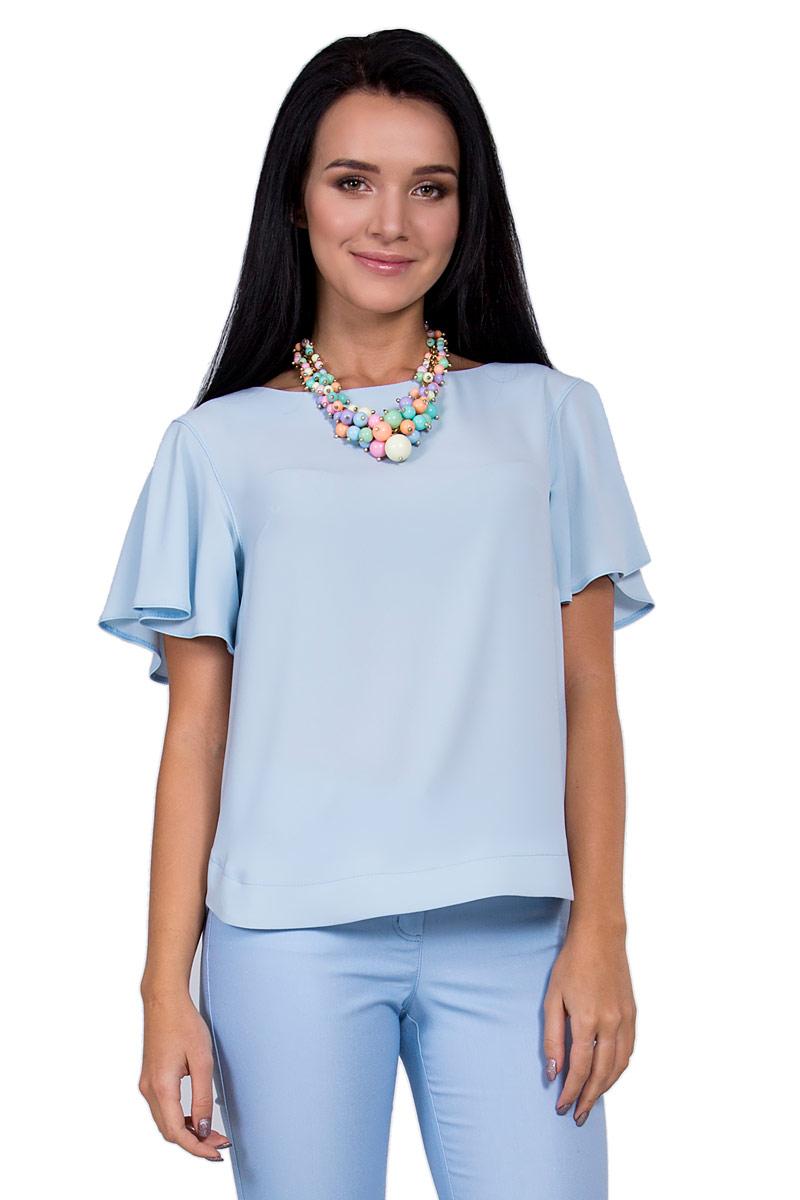 БлузкаП18-185Невероятно женственная блуза прямого силуэта, ярким акцентом которой стали короткие рукава-крылышки. Небесный пастельный оттенок подчеркнет нежность образа