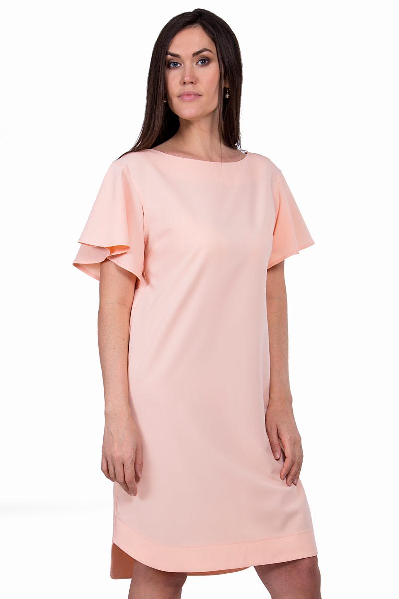 ПлатьеП19-133Невероятно женственное платье прямого силуэта длиной до колен. Выразительным элементом этой модели стали укороченные объемные рукава-крылышки. Персиковый пастельный оттенок подчеркивает нежность образа