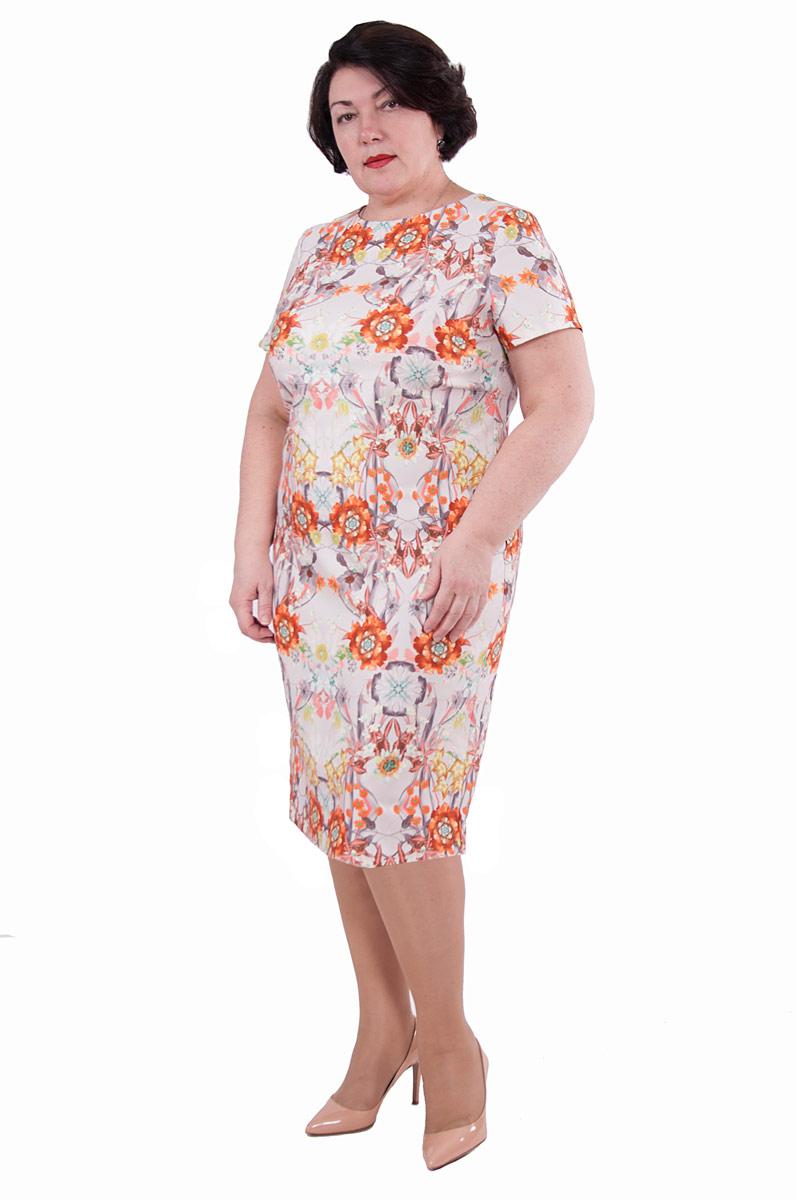 ПлатьеП19-191Платье прилегающего силуэта с нежным цветочным принтом - для женственного образа. Платье без рукавов, на спинке V-образный разрез.