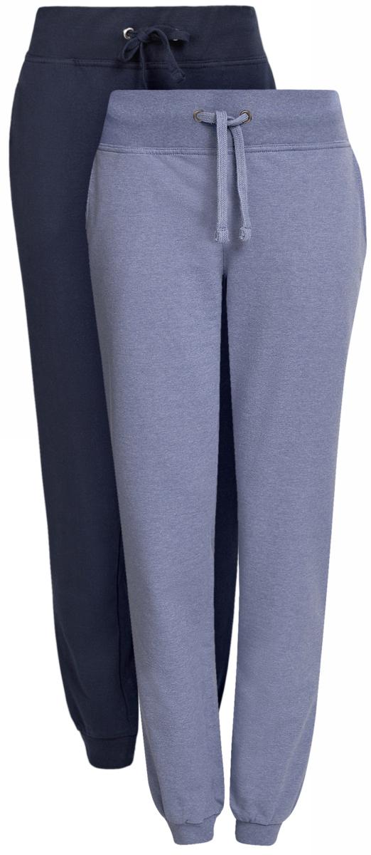 Брюки спортивные16700030T2/46173/2300MЖенские спортивные брюки oodji Ultra, выполненные из натурального хлопка, великолепно подойдут для отдыха и занятий спортом. Модель дополнена широкими эластичными резинками на поясе и по низу брючин. Объем талии регулируется с внешней стороны при помощи шнурка-кулиски. Спереди имеются два втачных кармана. В комплекте две пары брюк.