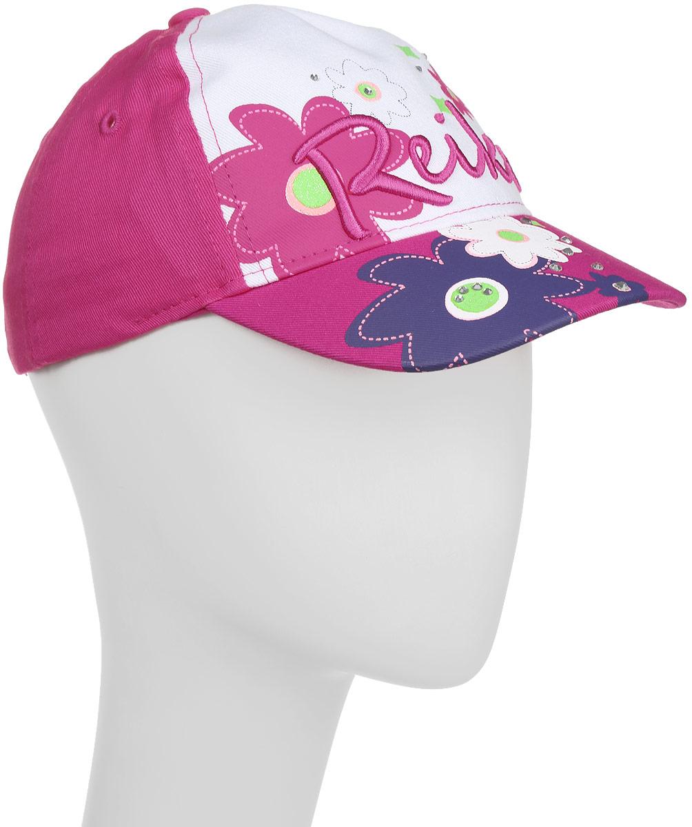 БейсболкаRWSS17-FLW1_fuchsiaБейсболка для девочки Reike Цветок, изготовленная из натурального хлопка, станет стильным аксессуаром во время прогулок и игр на свежем воздухе, защищая голову ребенка от солнца. Бейсболка оформлена стразами и принтом в стиле серии и застегивается на ремешок с липучкой, позволяющей регулировать размер. Уважаемые клиенты! Размер, доступный для заказа, является обхватом головы.
