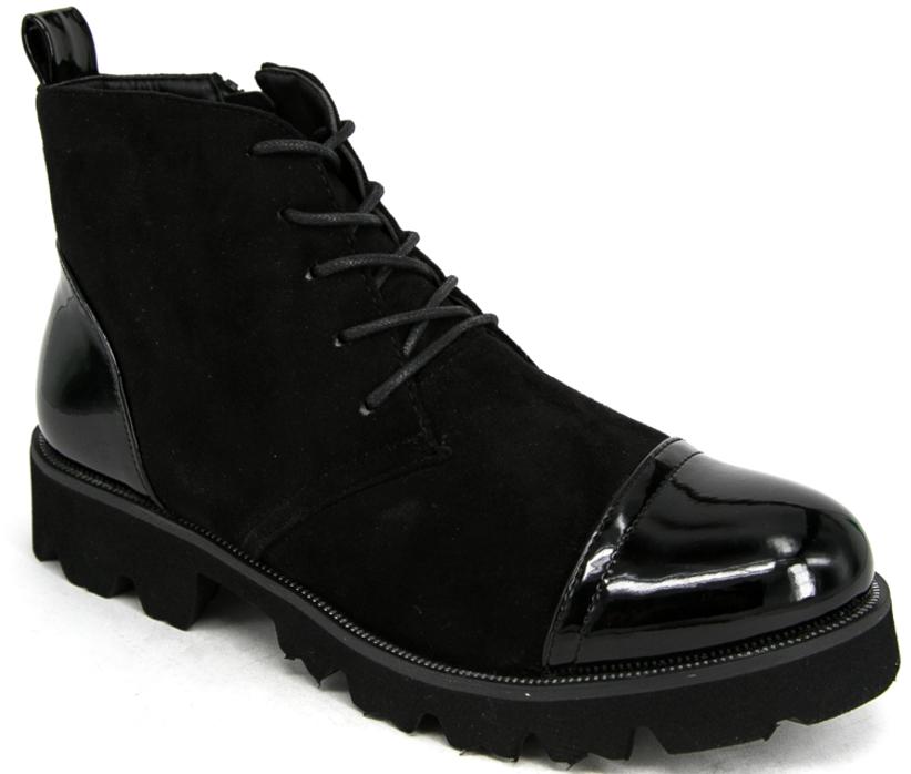 БотинкиD16-3989-1Женские ботинки от Aotoria выполнены из искусственной замши со вставками из искусственного лака. Подъем оформлен шнуровкой. Подкладка и стелька изготовлены из текстиля. Подошва из термополиуретана оснащена рифлением.