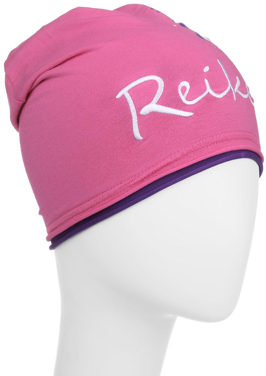 Шапка детскаяRKNSS17-FLW1_fuchsiaСтильная шапка для девочки Reike Цветок, изготовленная из качественного хлопкового материала, отлично впишется в гардероб юной модницы. Модель с контрастным подкладом оформлена цветочным принтом со стразами и вышивкой в стиле серии. Уважаемые клиенты! Размер, доступный для заказа, является обхватом головы.