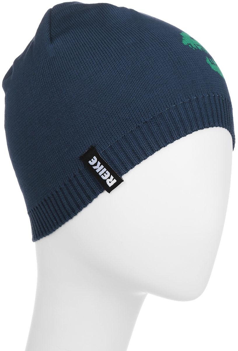Шапка детскаяRKNSS17-DRG1-YN_navyСтильная шапка для мальчика Reike Драконы, изготовленная из натурального хлопка мелкой вязки, отлично впишется в гардероб ребенка. Модель двойной вязки дополнена резинкой и оформлена принтом в стиле серии и логотипом Reike. Уважаемые клиенты! Размер, доступный для заказа, является обхватом головы.